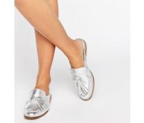 Geen Flache, fersenfreie Loafer Silber