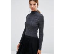 Kurzer, gerippter Pullover Grau