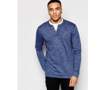 Enges langärmliges Henley-T-Shirt Marineblau