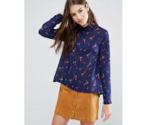 Bluse mit Kolibrimuster Marineblau