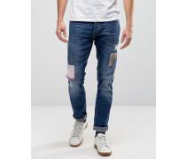 Patchwork Twister Schmal geschnittene Jeans Schwarz
