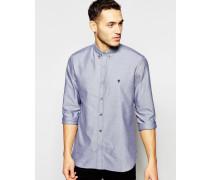 Langärmliges Oxford-Hemd Marineblau