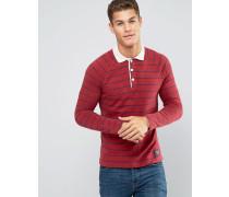 Schmales, langärmliges, rotes Polohemd mit Streifen und Kontrastkragen Rot