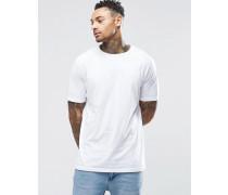 Langes, weißes T-Shirt mit kurzen Ärmeln Weiß
