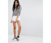 Bestickte Jeans-Hotpants Weiß