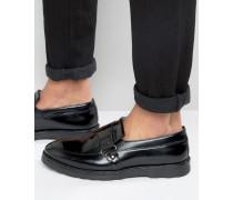 Schwarze Leder-Loafer mit Keilabsatz Schwarz