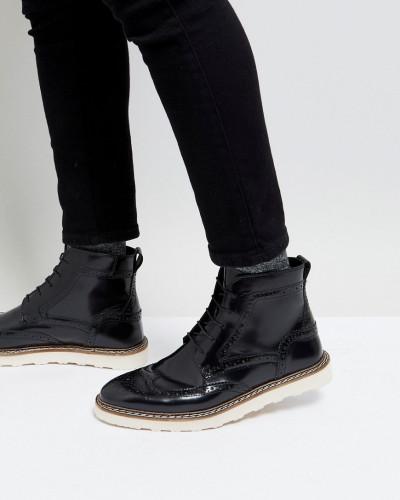 Wählen Sie Eine Beste ASOS Herren Budapester-Stiefel aus schwarzem Leder mit Kontrastsohle 2018 Günstiger Preis BvkCIkv