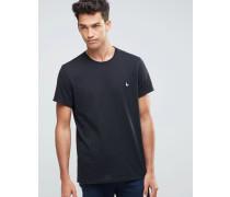 Schwarzes T-Shirt in klassischer regulärer Passform Schwarz