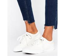 Schnür-Sneaker in Lederoptik Weiß