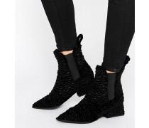 Spitze Chelsea-Stiefel aus Samt Schwarz