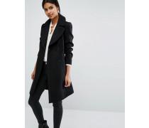 Ausgestellter Mantel mit Gürtel Schwarz
