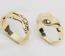 2er-Set kunstvolle Ringe Gold