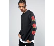 Langärmliges Shirt in Schwarz mit Rosenprint an den Ärmeln Schwarz