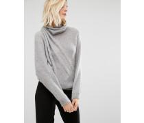 Pullover mit Stehkragen und Drapierung Grau