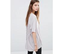 Oversize-T-Shirt mit Fransen Grau