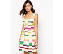 Kleid mit auffälligem Streifenmuster Mehrfarbig