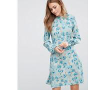 Closet Langärmliges geblümtes Kleid mit Kragen Mehrfarbig
