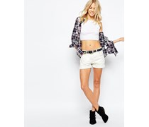 Levi's 501 Ct Boyfriend-Jeanshorts mit Rollsaum Weiß