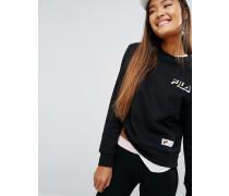 Lockeres Boyfriend-Sweatshirt mit Logo auf der Brust Schwarz