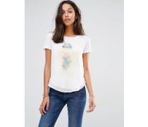 T-Shirt mit drapiertem Vorderteil aus Chiffon Weiß