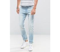 Skinny-Jeans mit Stretch und Distressed-Look in blauer Vintage-Waschung Blau