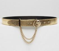 Goldener Gürtel mit goldener Metallschnalle Gold