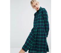 Mittellanges Hemdkleid mit Schottenmuster Blau