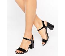 Zweiteilige Schuhe mit Blockabsatz Schwarz