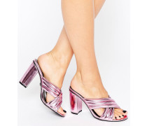 Sandalen in Rosa-Metallic mit Absatz Rosa