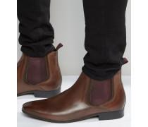Chelsea-Stiefel aus braunem Leder mit farbigen Elastikeinsätzen Braun