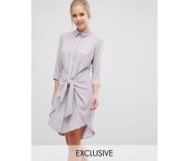 Closet Langärmliges Kleid mit Bindeband vorn Braun