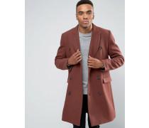 Doppelreihiger Mantel aus rostrotem Wollmix Braun