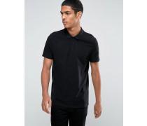 Pikee-Polohemd in Schwarz mit Skaterpassform Schwarz