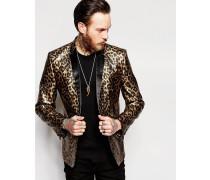 Schmaler Blazer mit Leopardenprint Gold