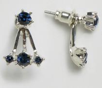 Ohrringe mit kleinen Schmuckstein-Anhänger Blau