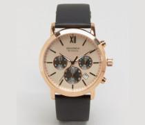 Exklusiv bei ASOS Chronographenuhr aus braunem Leder mit goldenem Zifferblatt Braun