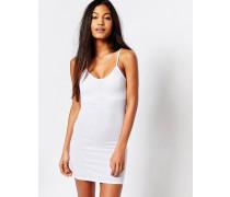 Geripptes Kleid mit V-Ausschnitt Weiß