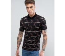 Gestreiftes, schwarzes Polohemd fin Muskelshirtform mit Retro-Zick-Zack-Muster Schwarz