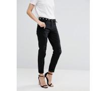 Mom-Jeans im Used-Look Schwarz