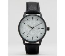 Schwarze Armbanduhr mit Grafikdruck Schwarz