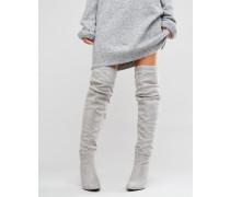 Overknee-Stiefel Grau