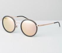 Runde Sonnenbrille mit Brauensteg und Gläsern in Roségold Schwarz