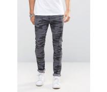 Superenge Jeans mit Biker-Details in Schwarz mit Tarnmuster Schwarz
