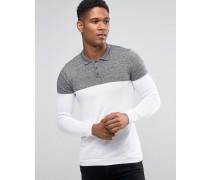 Gestricktes Muskel-Poloshirt in Blockfarben Weiß
