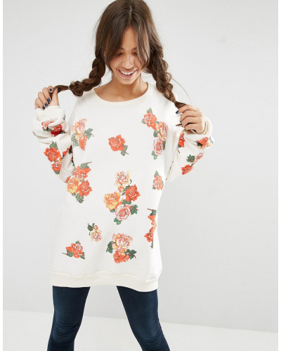 wildfox damen pullover mit rosen design wei 57 reduziert. Black Bedroom Furniture Sets. Home Design Ideas