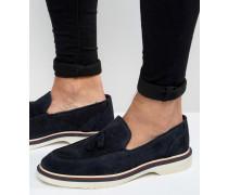 Marineblaue Wildleder-Loafers mit Keilabsatz Marineblau