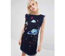 x Lee Etui-Jeanskleid mit Space-Stickerei Blau