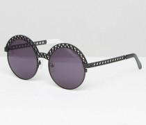 Runde, schwarze Sonnenbrille mit flachen Gläsern Schwarz
