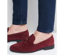 Weinrote Loafer mit Quaste in Wildlederoptik Rot