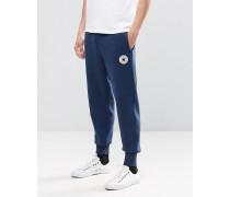 10002135-A03 Jogginghose mit Emblem und Bündchen in Blau Blau